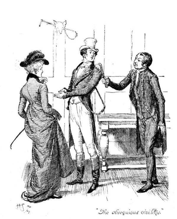 Obsequious Civility; Illustration; Pride And Prejudice; Jane Austen; Mr; Collins; Attentions; Mr; Darcy; Elizabeth Bennet; Bennett; Fawning; Sycophantic; Clergyman; Clergy; Vicar; Georgian; Regency; Costume; Riding Gear; Lovers; Couple; Character Poster featuring the drawing Scene From Pride And Prejudice By Jane Austen by Hugh Thomson