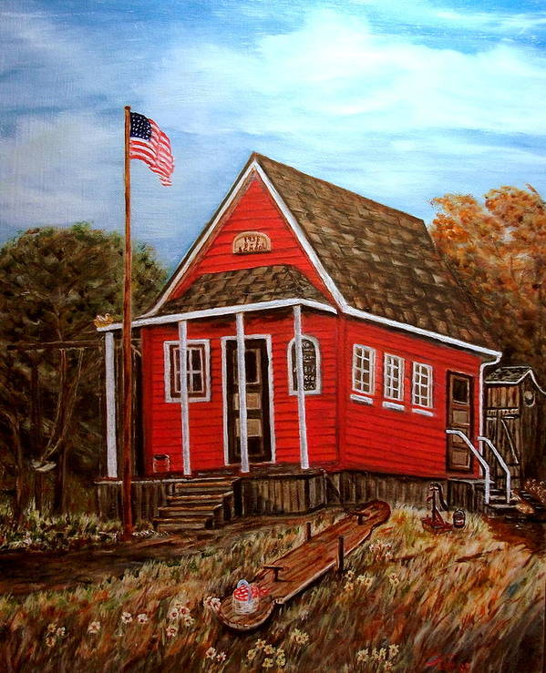 Landscape Poster featuring the painting School House by Kenneth LePoidevin