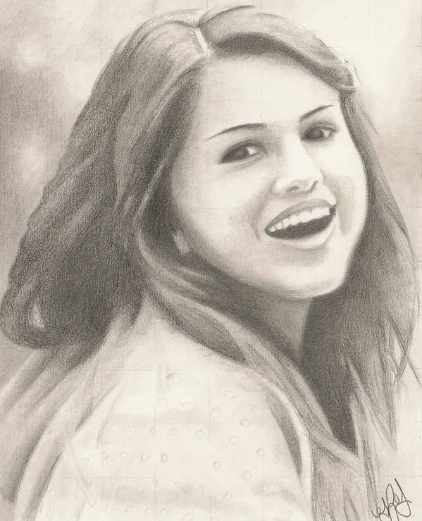 Selena Gomez Poster featuring the drawing Selena Gomez by Kendra Tharaldsen-Franklin