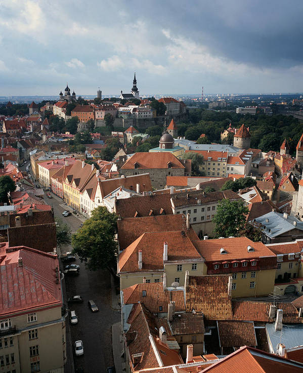 Tallinn Poster featuring the photograph View From Above Of Old Town Tallinn Estonia by Cliff Wassmann