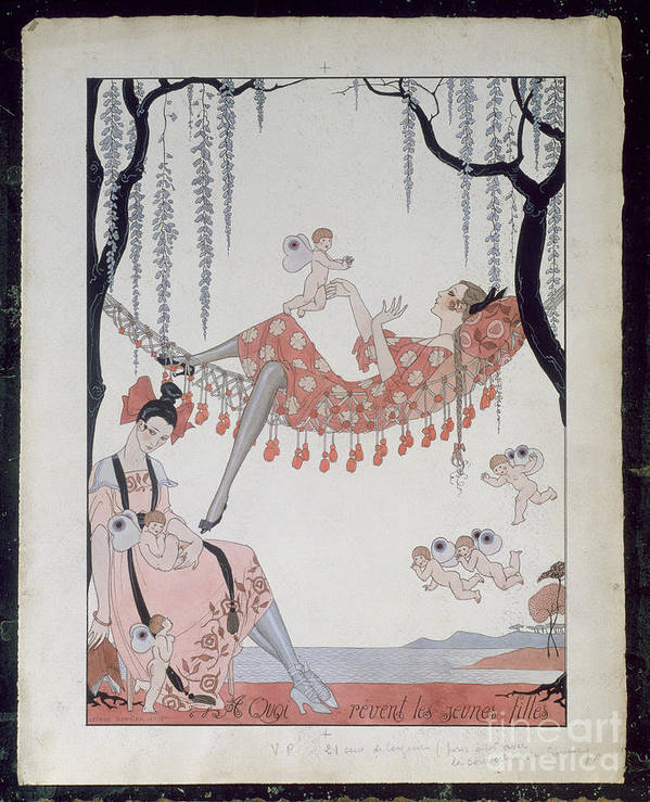 Female Poster featuring the painting What Do Young Women Dream Of? by Georges Barbier