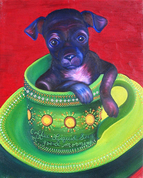 Dog Poster featuring the painting Dog In Cup by Gail Mcfarland