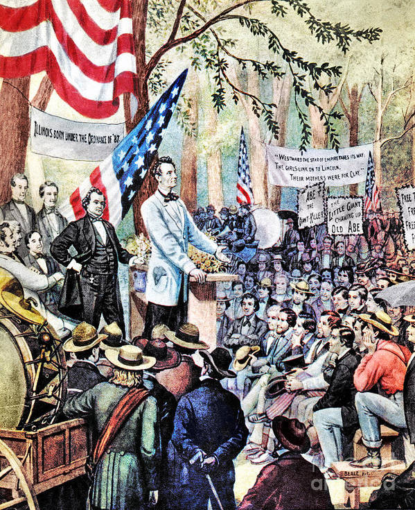 1858 Poster featuring the photograph Lincoln-douglas Debate by Granger