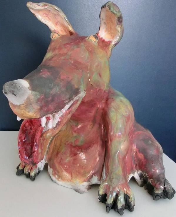 Raku Ceramic Dog Poster featuring the ceramic art Big Eared Dog by Roger Leighton