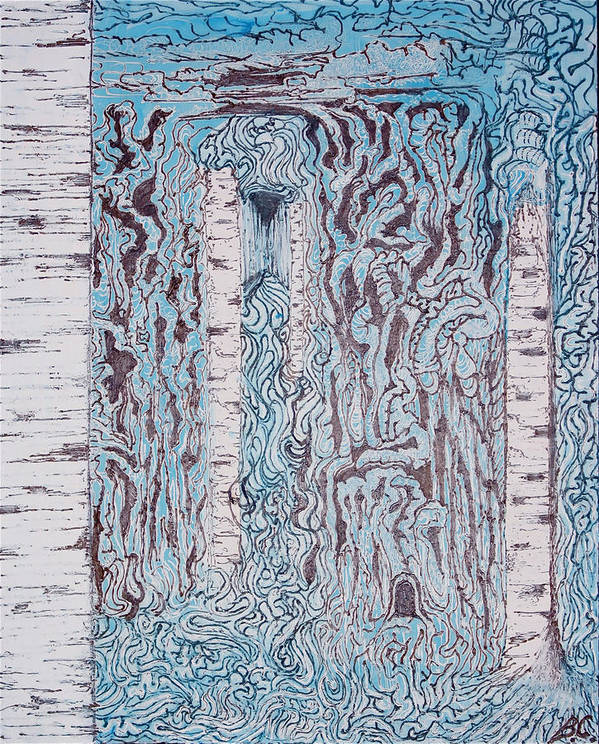 Acrylic Poster featuring the painting Birch N Blue by Ben Christianson