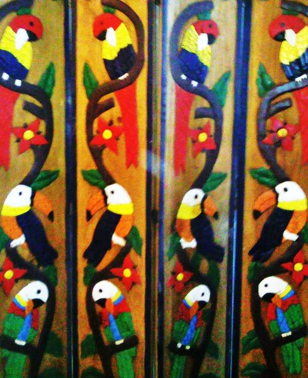 Wood Poster featuring the photograph Parrots And Tucans by Unique Consignment