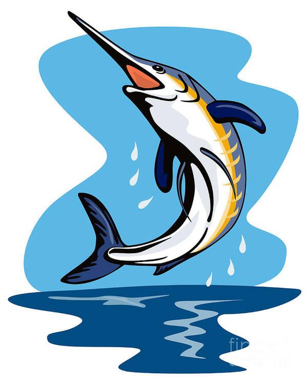 Sailfish Poster featuring the digital art Blue Marlin Jumping by Aloysius Patrimonio