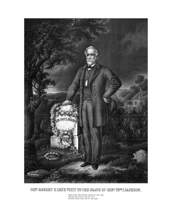 Civil War Poster featuring the drawing General Lee Visits The Grave Of Stonewall Jackson by War Is Hell Store