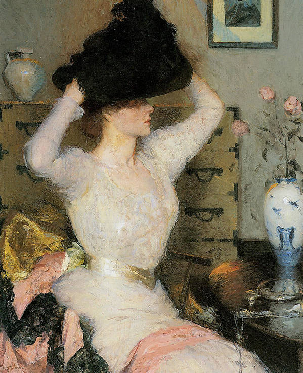 Frank Weston Benson Poster featuring the painting Lady Trying On A Hat by Frank Weston Benson