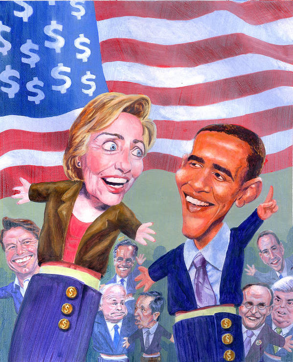 Hillary Clinton Poster featuring the painting Political Puppets by Ken Meyer jr