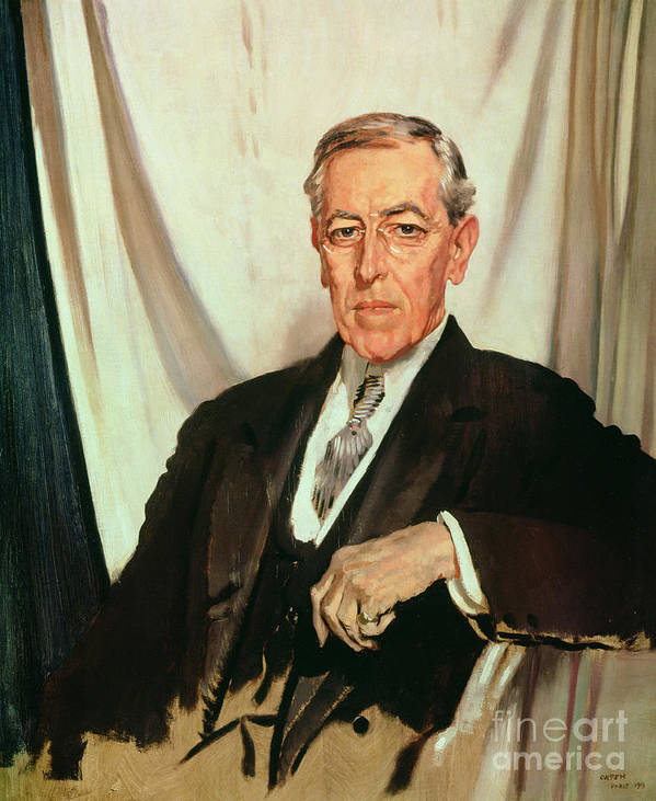Portrait Of Woodrow Wilson (1856-1924) C.1919 (oil On Canvas) By Sir William Orpen (1878-1931) Poster featuring the painting Portrait Of Woodrow Wilson by Sir William Orpen