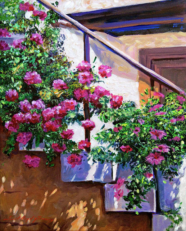 Plein Aire Poster featuring the painting Stairway Floral Plein Air by David Lloyd Glover