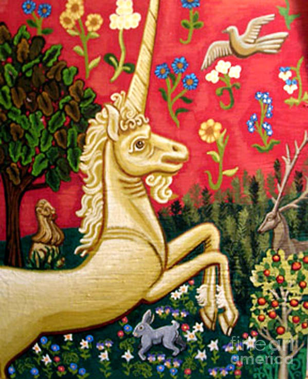 Unicorn Poster featuring the painting The Unicorn by Genevieve Esson