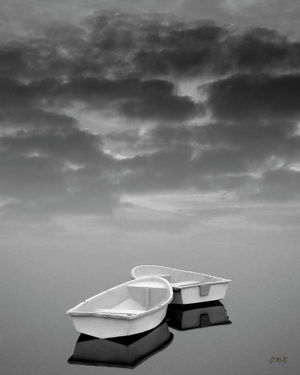 Boats Poster featuring the photograph Two Boats And Clouds by Dave Gordon