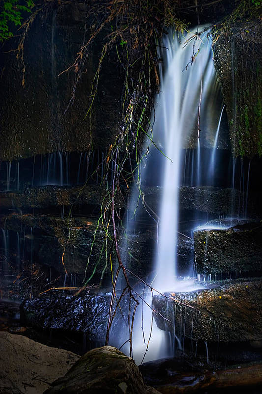 Waterfall Poster featuring the photograph Small Waterfall by Tom Mc Nemar