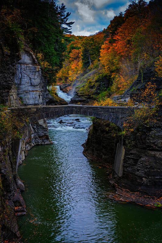 Autumn Photographs Photographs Poster featuring the photograph Footbridge At Lower Falls by Rick Berk