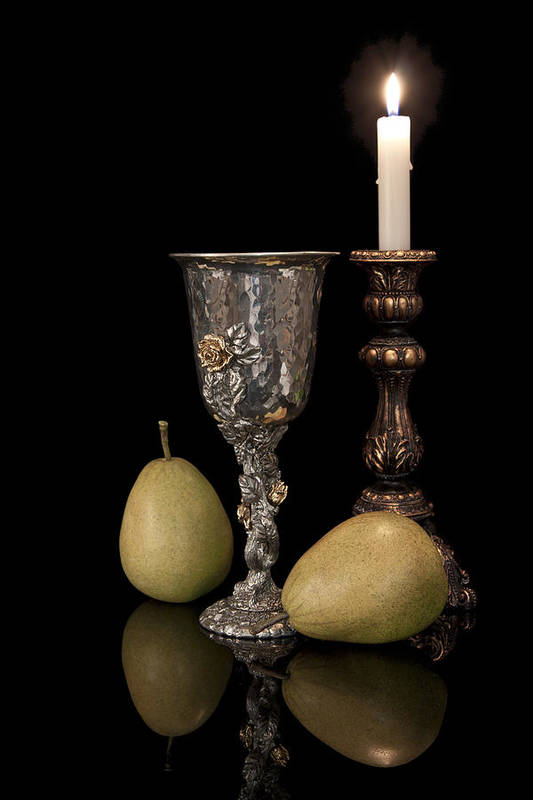 Chalice Poster featuring the photograph Still Life With Pears by Tom Mc Nemar