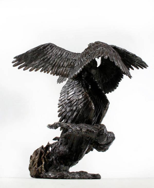 Bronze Poster featuring the sculpture Seraph Angel A Religious Bronze Sculpture By Adam Long by Adam Long