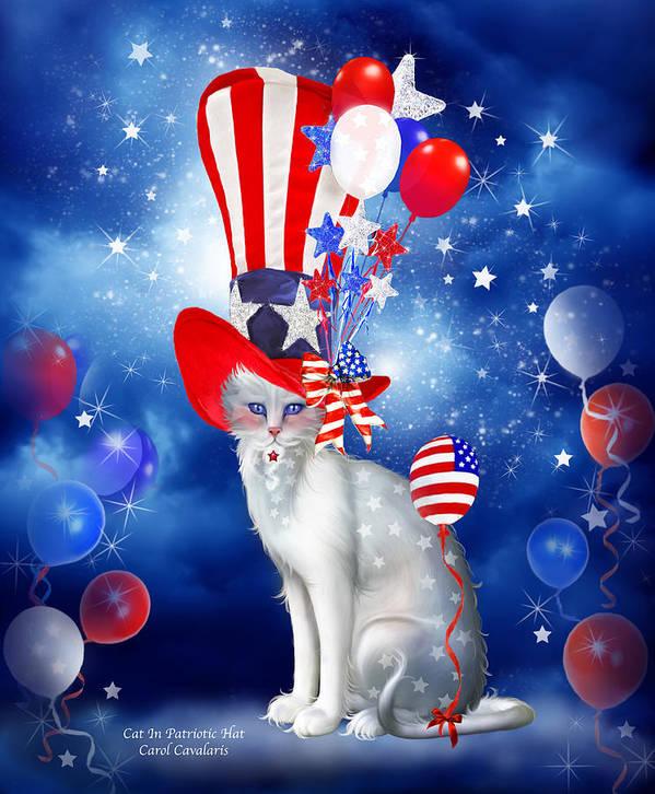 Carol Cavalaris Poster featuring the mixed media Cat In Patriotic Hat by Carol Cavalaris