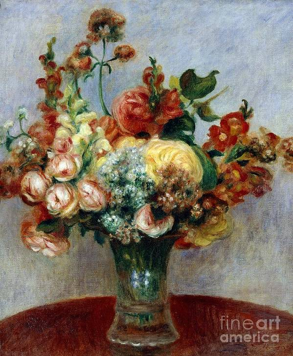Art; Painting; 19th Century Painting; Europe; France; Renoir Pierre-auguste; Flowerpot; Still-life; Impressionism Poster featuring the painting Flowers In A Vase by Pierre-Auguste Renoir