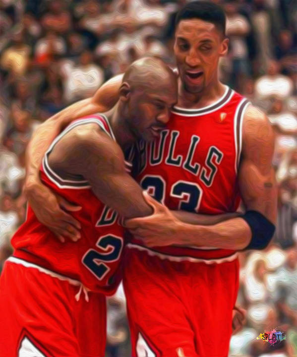 Nba Poster featuring the painting Jordan And Pippen by Paint Splat