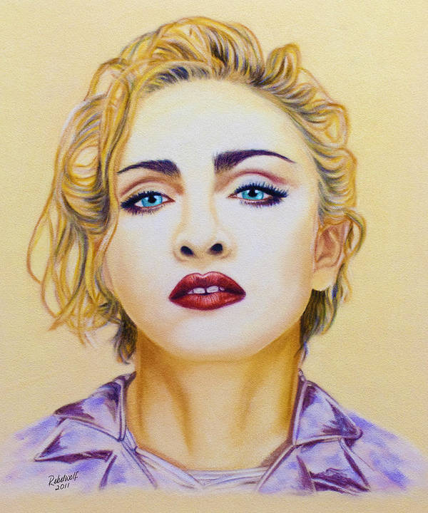 Madonna Poster featuring the pastel Madonna by Rebelwolf