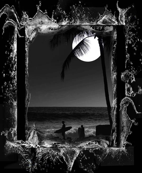 Hawaii Poster featuring the photograph Moonlight Surf by Athala Carole Bruckner