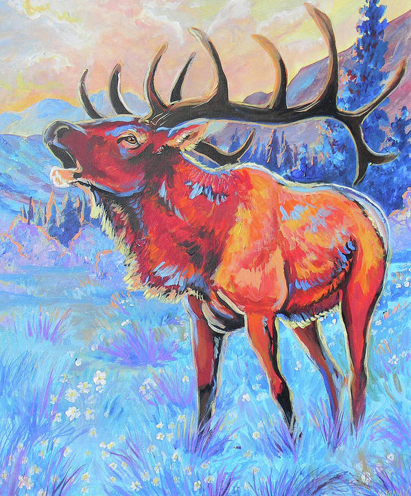 Elk Poster featuring the painting Mountain Lord by Jenn Cunningham