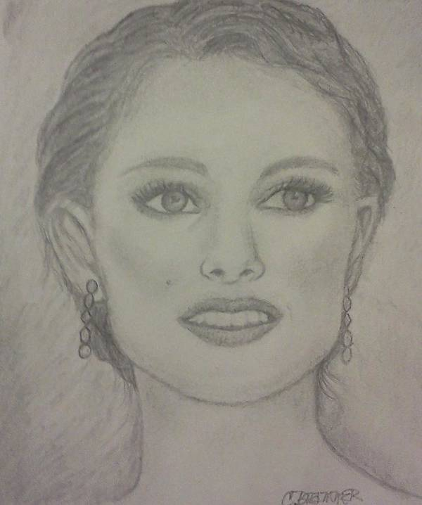 Natalie Portman Poster featuring the drawing Natalie by Christy Saunders Church