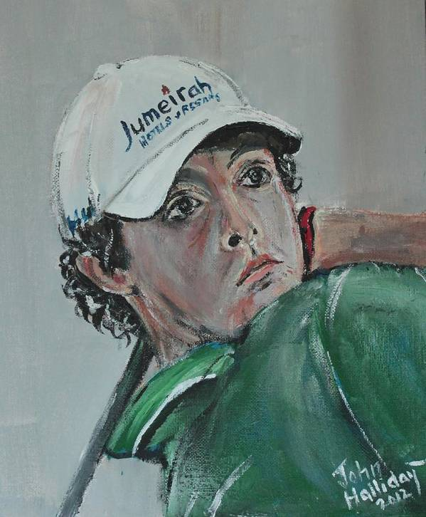 Rory Mcilroy Poster featuring the painting Rory Mcilroy by John Halliday