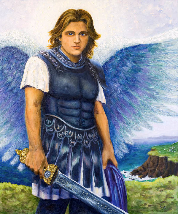 St. Poster featuring the painting Saint Michael The Archangel by Patty Kay Hall