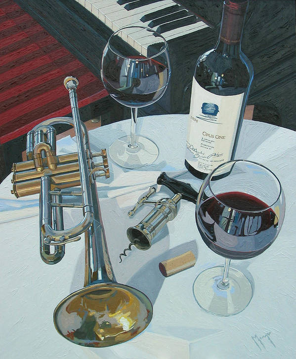 Wine Art Poster featuring the painting A Measure Of Opus by Christopher Mize
