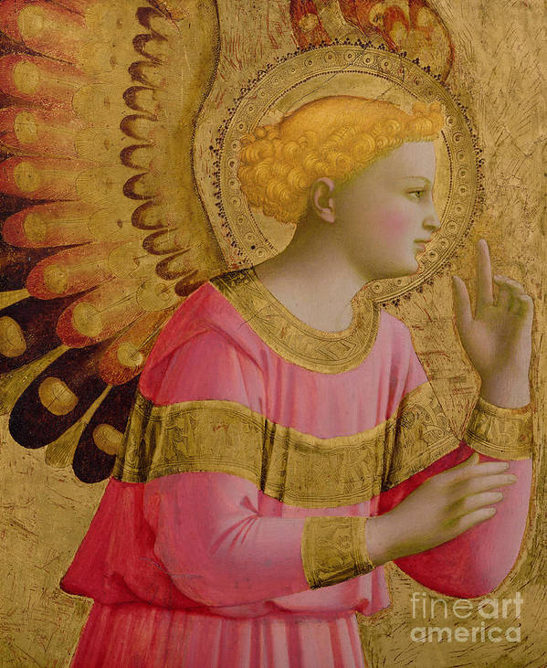 Annunciatory Poster featuring the painting Annunciatory Angel by Fra Angelico