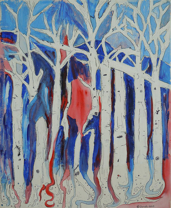 Aspen Trees Reach Toward The Blue Sky Of Colorado And Their Roots Shoot Deep Into The Earth Below. Poster featuring the painting Aspen Roots by Christy Woodland