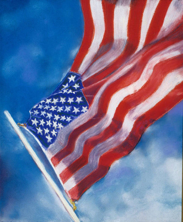American Flag Poster featuring the pastel Heroes by Laura Dinoia