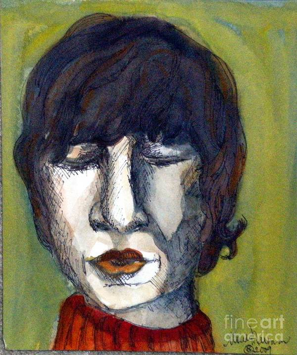 Music Poster featuring the painting John Lennon As An Elf by Mindy Newman