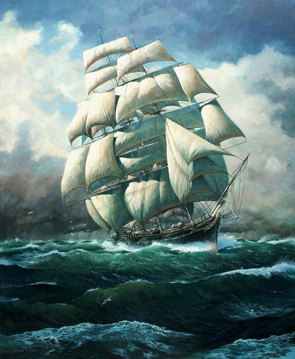 Marine Art Poster featuring the painting 'land Ho' Cutty Sark by Colin Parker
