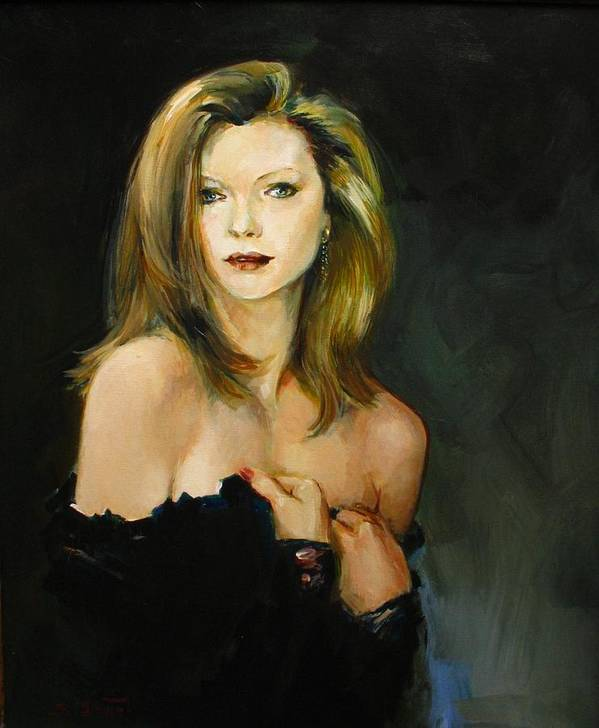 Michelle Poster featuring the painting Michelle Pfeiffer by Tigran Ghulyan