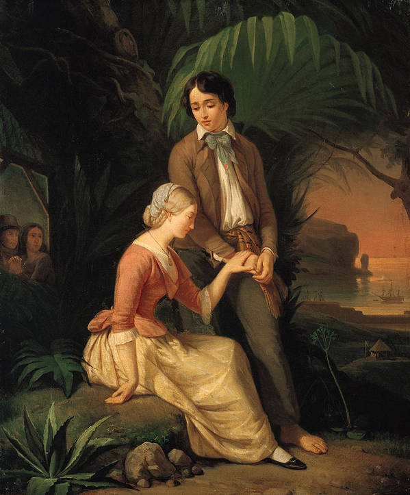 Paul Poster featuring the painting Paul And Virginie by French School