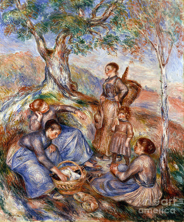 1880s Poster featuring the photograph Renoir: Grape Pickers by Granger