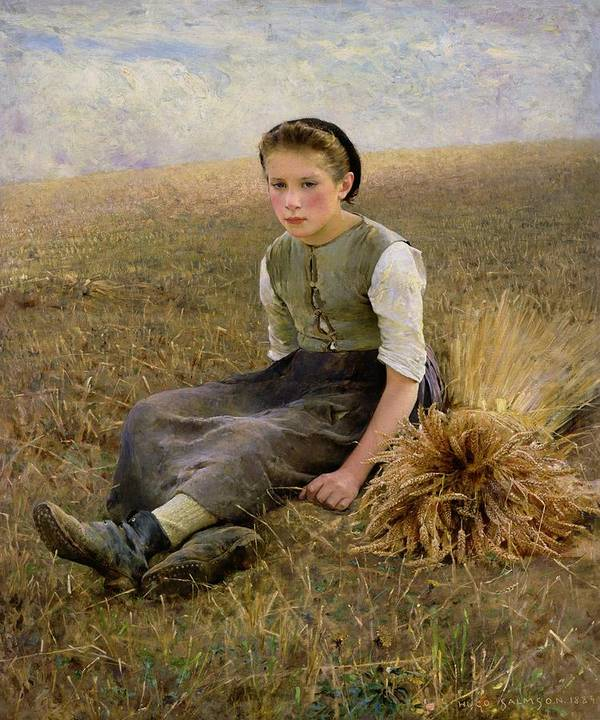 La Petite Glaneuse; Corn; Pensive; Sheaf; Field; Young Girl; The Little Gleaner Poster featuring the painting The Little Gleaner by Hugo Salmon