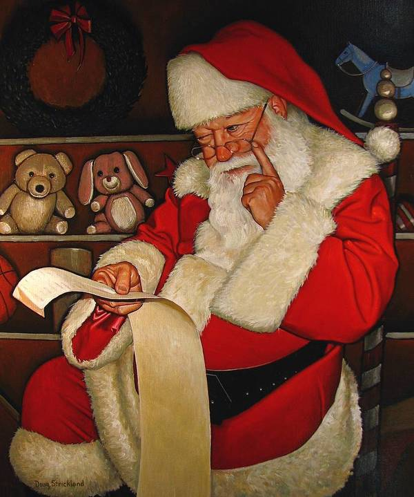 Doug Strickland Poster featuring the painting Thoughtful Santa by Doug Strickland