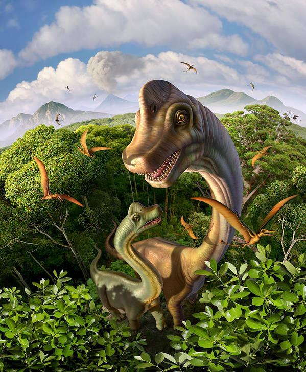 Brachiosaurus Poster featuring the digital art Ultrasaurus by Jerry LoFaro