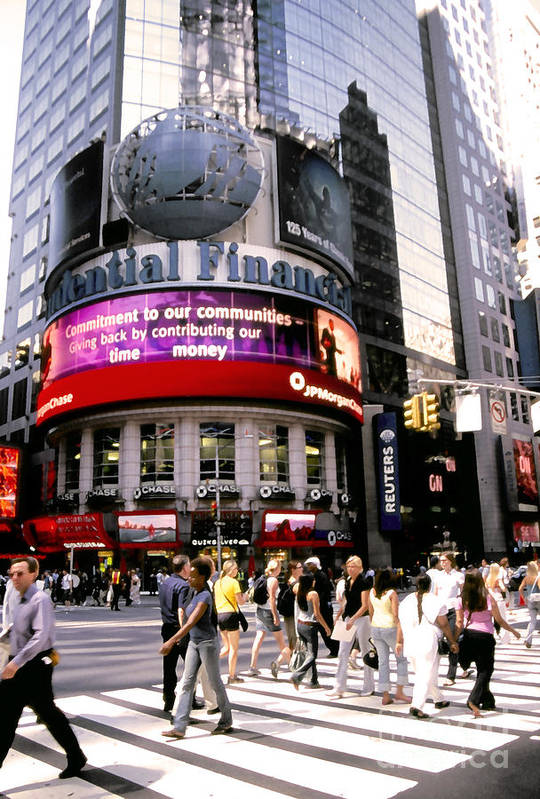 Nyc Poster featuring the photograph Times Square Corner by Linda Parker