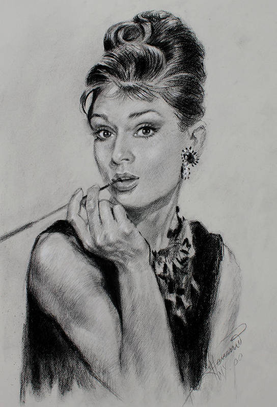 Audrey Hepburn Poster featuring the drawing Audrey Hepburn by Ylli Haruni