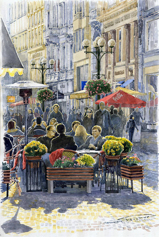 Watercolor Poster featuring the painting Prague Mustek First Heat by Yuriy Shevchuk