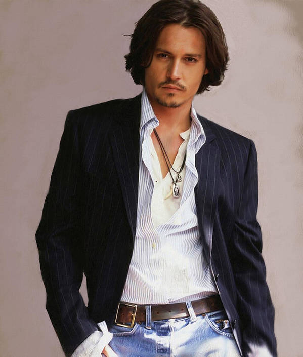 Johnny Depp Poster featuring the painting Johnny Depp by Dominique Amendola