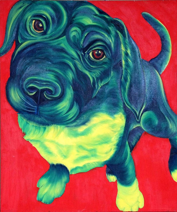 Dog Poster featuring the painting Green With Envy by Gail Mcfarland