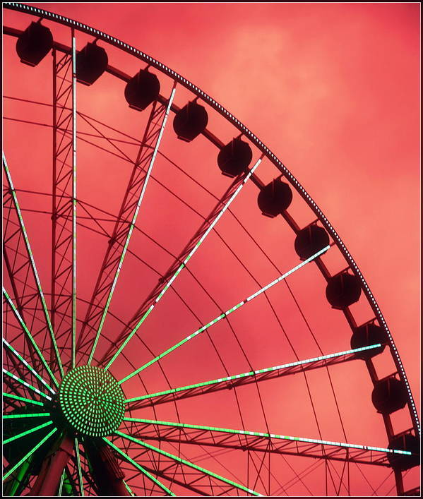 Ferris Wheels Poster featuring the photograph Spinning Wheel by Karen Wiles