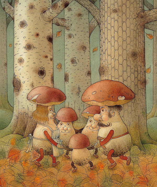 Mushrooms Landscape Forest Autumn Poster featuring the painting Mushrooms by Kestutis Kasparavicius